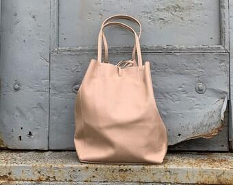 e89d564ca0b5 Made in Italy Genuine Leather Tote Bag - Carolinda Blush Pink
