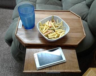 Sofa TV Tray, TV Clamp on Snack tray.Armrest Snack Tray, Wood Clamp On Tray, Snack Tray Organizer