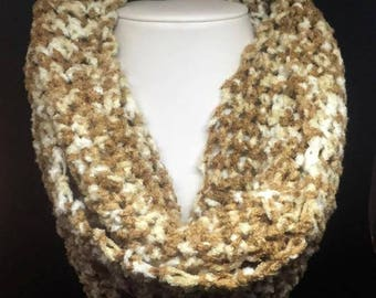 Brown And White Infinity Scarf