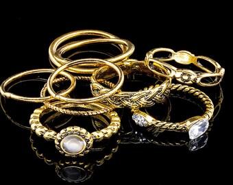 Set of rings, Prehnite Ring, Bezel set ring,Birthstone Ring, Gold Ring,Tear Drop, Shaped Ring, Gemstone Ring, Stacker Ring, Bridesmaid.