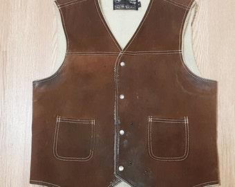 f916133ca89 SEARS Leather Shop Mens Brown Suede Sherpa Vest - Size Medium - Vintage  1970s