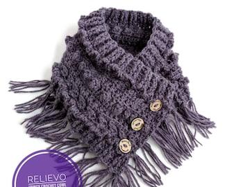 """Crochet Pattern - """"Relievo"""" Fringy Crochet Cowl"""