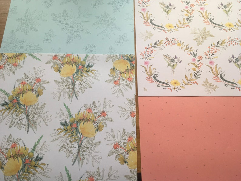journalling card making scrapbooking 12 x 12 craft papers from Papermania\u2019s Freshly Cut Flowers collection