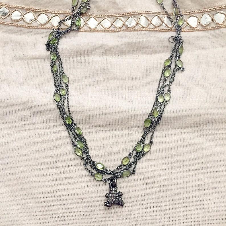 Pave Diamond Oxidised Sterling Silver Pendant
