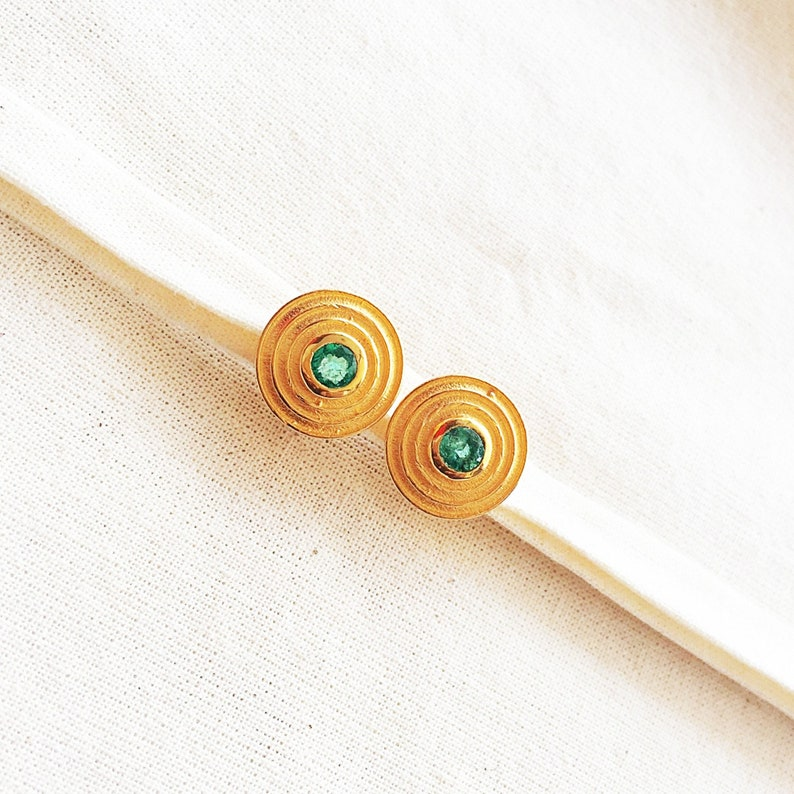 Emerald Vermeil 14k Gold Over Sterling Silver Earring