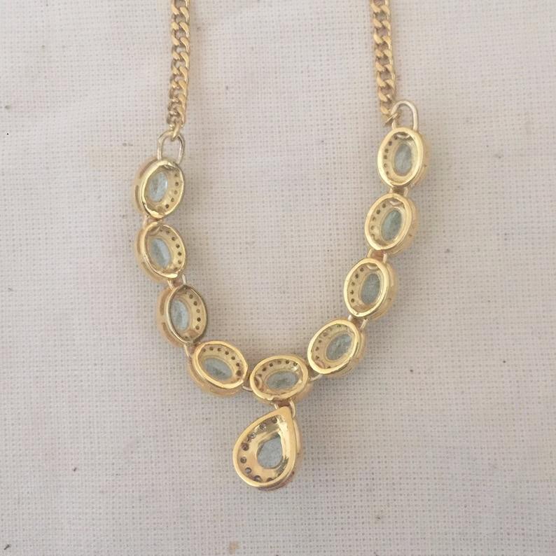 Blue Topaz /& Diamond Vermeil 14K Gold Over Sterling Silver Necklace