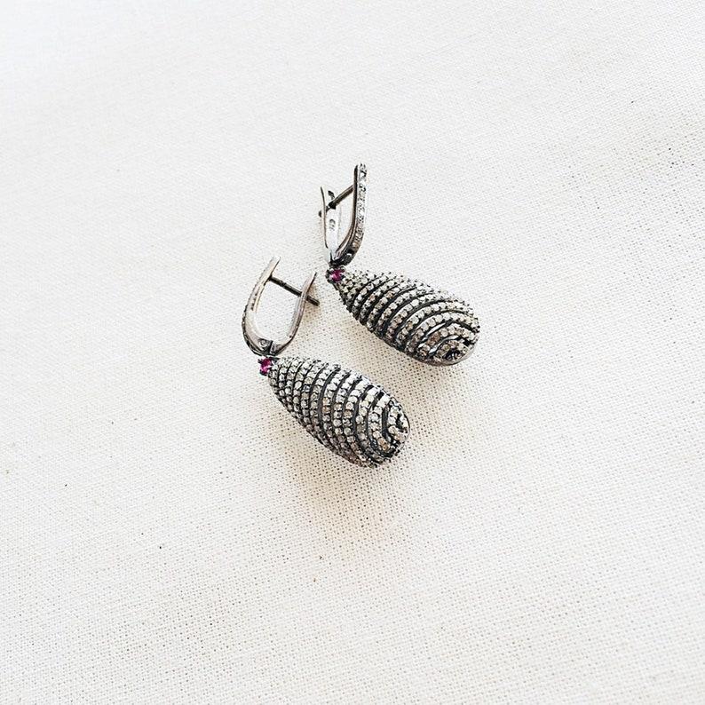 Ruby /& Oxidized Sterling Silver Drop Earring Diamond