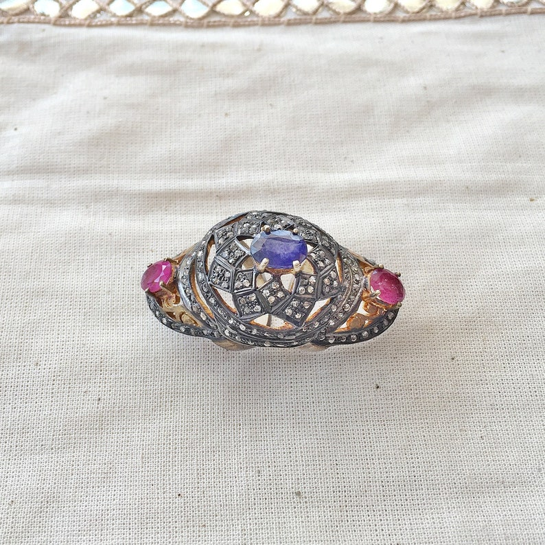 Sapphire /& Ruby Sterling Silver Ring Diamond