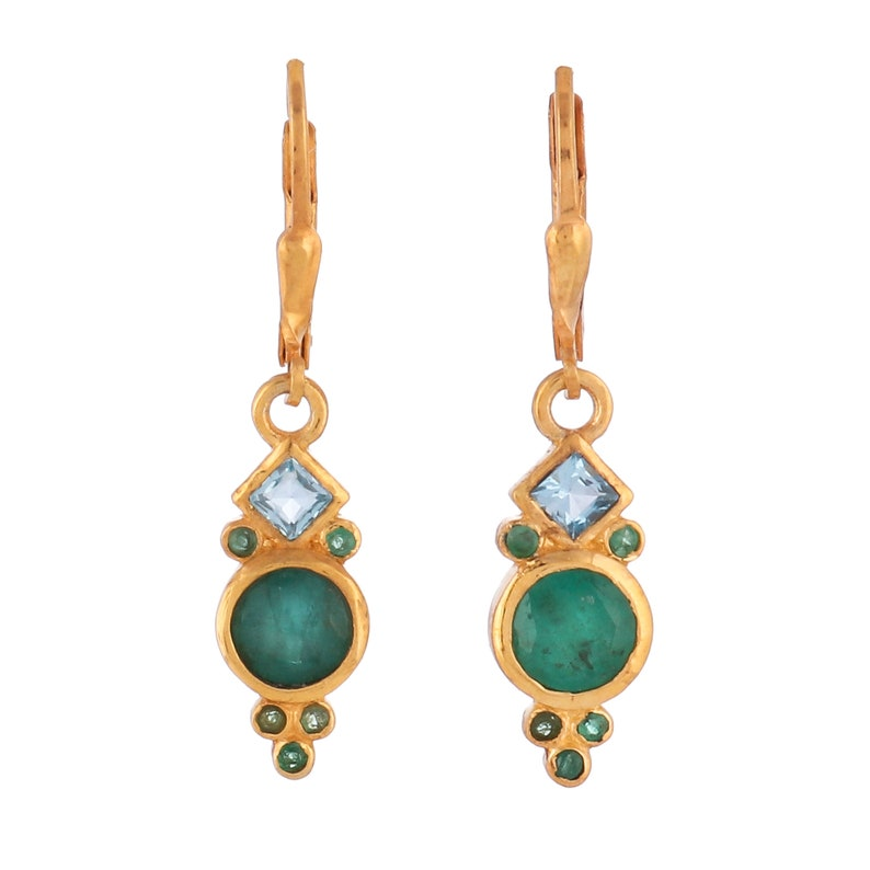 Blue Topaz Vermeil 14K Gold Over Sterling Silver Earring
