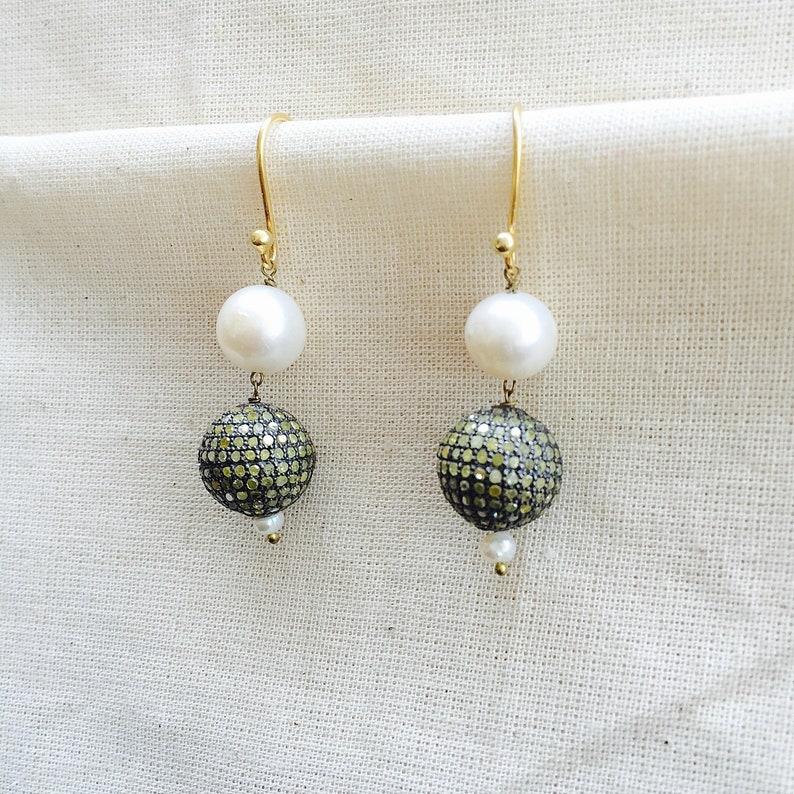 Diamond /& Pearl Sterling Silver Bead Earring