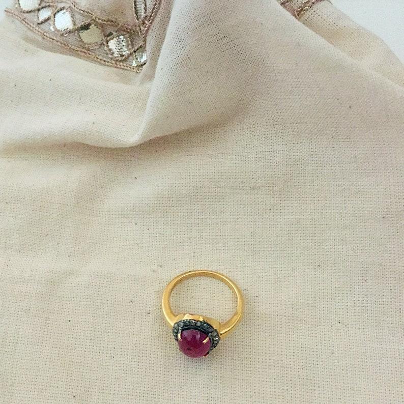 Diamond /& Ruby Sterling Silver Ring