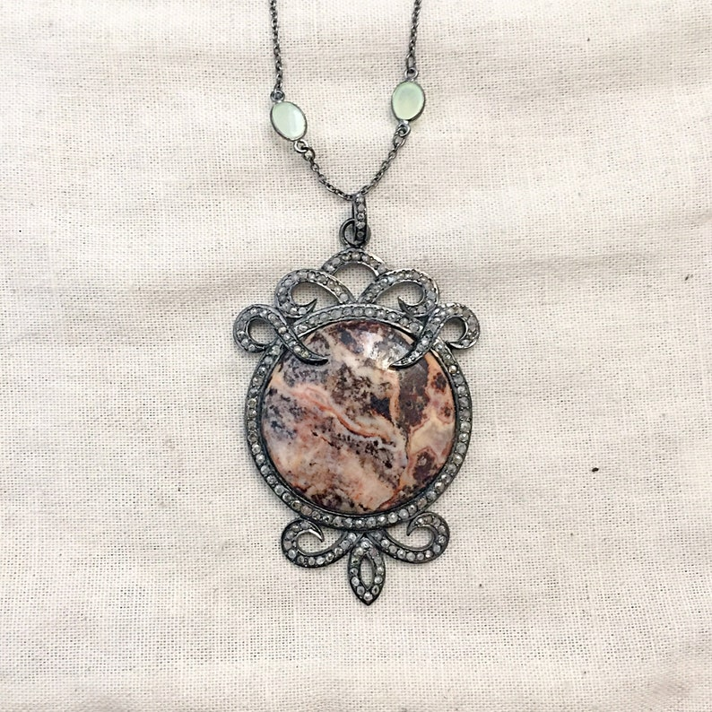 Diamond /& Jasper Oxidised Sterling Silver Pendant