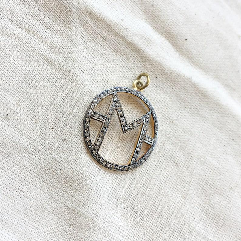 Diamond Sterling Silver M Initial Pendant