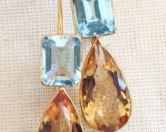 Gorgeous 14K Gold Plated Blue Topaz & Citrine Earring