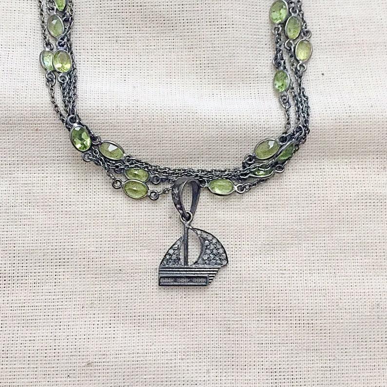 Diamond Oxidised Sterling Silver Pendant