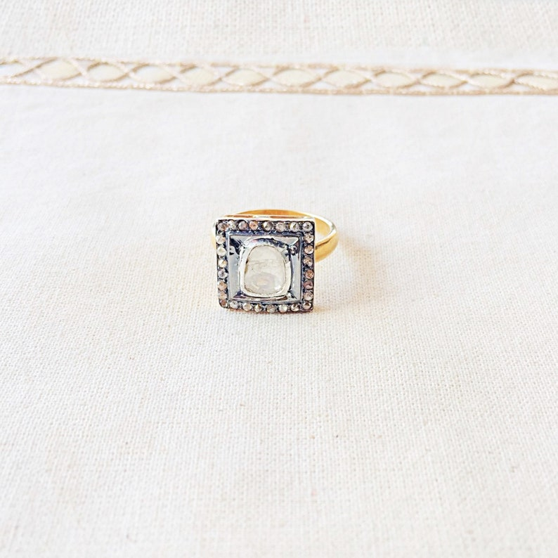 Rose Cut Diamond Oxidized Sterling Silver Ring