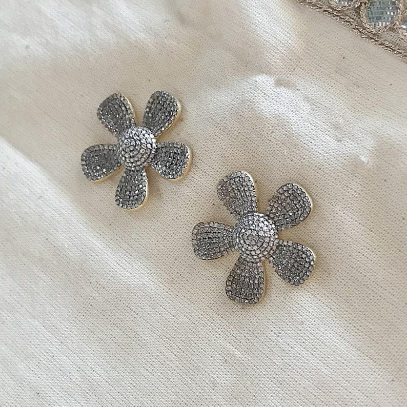 Diamond Sterling Silver Flower Stud Earring