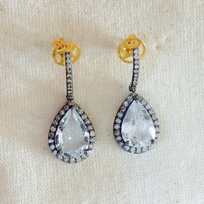Diamond /& White Topaz Oxidised Sterling Silver Earring