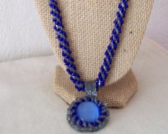 Navy Spiral Necklace, removable pendant, navy, blue, glass beads, bead embroidered, toggle clasp, necklace, bead woven