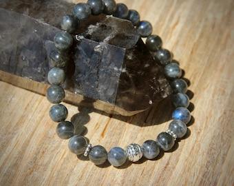 MENS Grade AAA Labradorite stretch bracelet