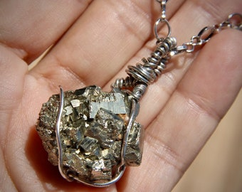 Wire Wrapped Pyrite necklace
