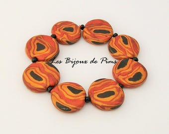 Brown bracelet with polymer clay