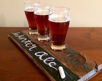 Recycled Wood Beer Tasting Tray   Gifts for Men   Gifts under 30   Beer Tasting   Beer Flight   Whiskey Tasting Flight   Bourbon Tasting