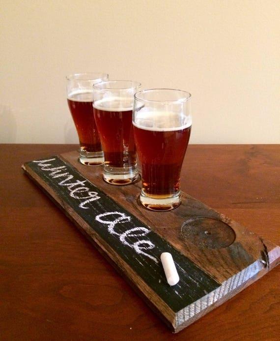 Recycled Wood Tasting Tray Gifts For Under 30 Men Beer Tasting Beer Flight Whiskey Bourbon Tasting Flight Coffee Tasting