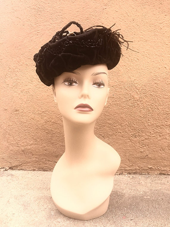 Antique Edwardian Womens Black Velvet Turban Style