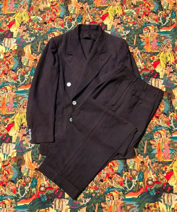 Vintage RARE 1940s 2pc Palm Beach Belted back Suit