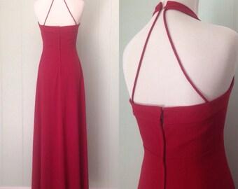 Vintage 1970s Evening Dress Halter Neck Spaghetti Strap
