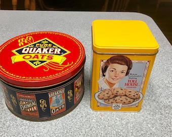 Vintage 1983 Quaker Oats Limited Edition  Round Tin & Nestle atoll House Tin