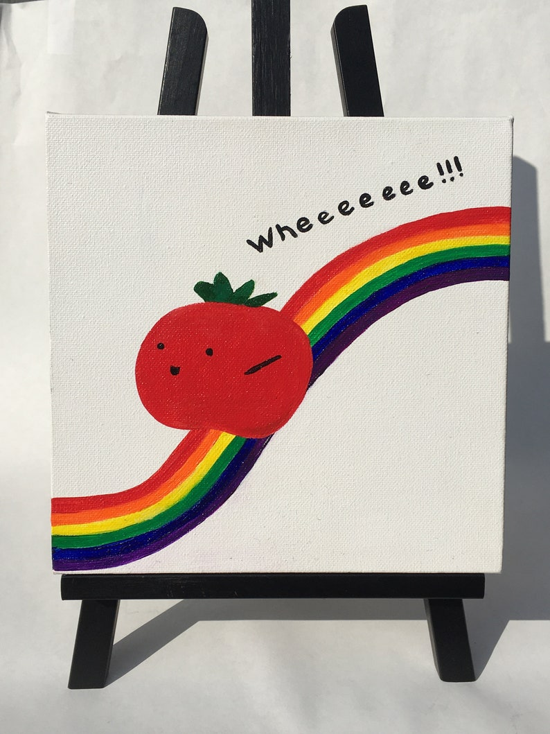 Canvas Painting 8x8 Happy tomato on a rainbow slide