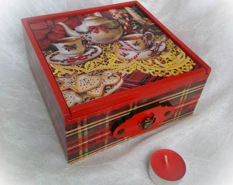 Tea box wooden tea box Tea Storage Scottish style Tea Bag Box Tea bag storage red box  for kitchen dining room new year christmas candy box