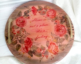 Wooden tray Pink tray Rustic style Housewarming Round wooden tray with handles Farmhouse Custom serving tray with text design Home is