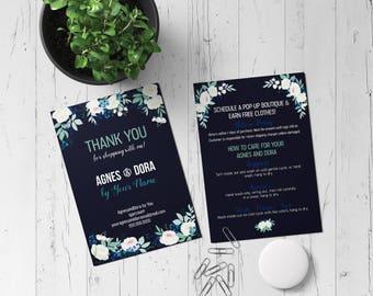 Custom Digital Thank you postcard -Fashion Consultant-Floral Design- 5x7- Agnes & Dora