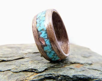 walnut wood ring with turquoise and copper inlay - handmade bentwood ring - made with sustainable, earth friendly materials - american made