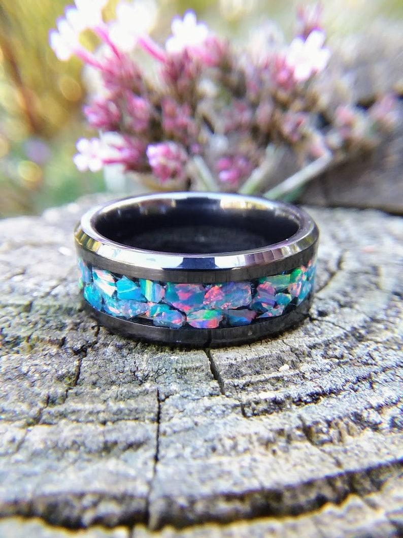 c96dd90120 Ocean Sunset Fire Opal Ring Black Ceramic Wedding Band With | Etsy