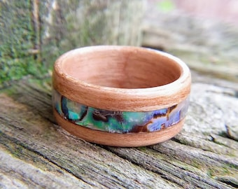 Cherry wood ring with Paua Shell Inlay - handmade bentwood ring - wood wedding band - wood promise ring - mother of pearl - abalone shell