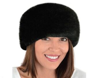 3525b0f2a0312 Luxury Faux Fur Headband, BLACK FOX Fur Headband / Neck Warmer