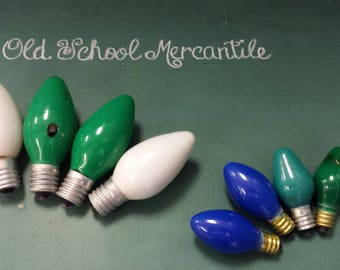 Vintage Christmas Light Bulbs Green White Blue 2 Sizes Small Large Crafts Bowl Filler