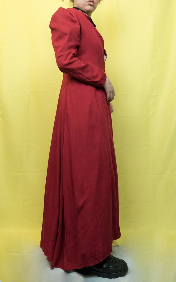 1940s Puff Shoulder Ruby Red Robe Vintage 40s Coat