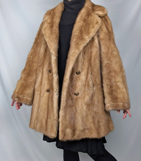 Vintage Double-Breasted Authentic Blonde Mink Fur