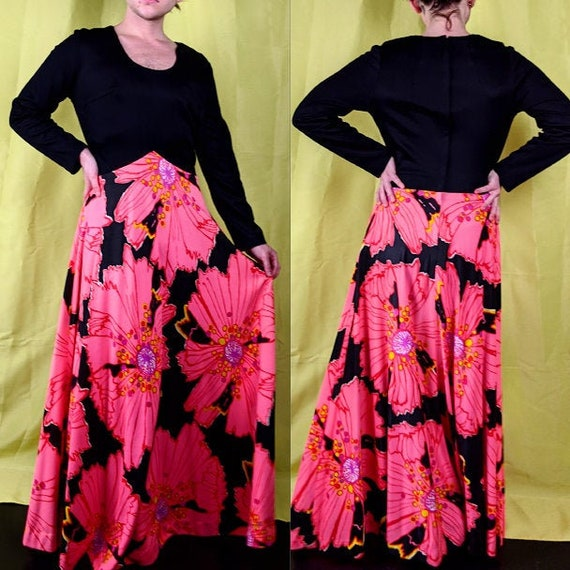 70s Vintage Black and Bright Pink White Yellow Lar