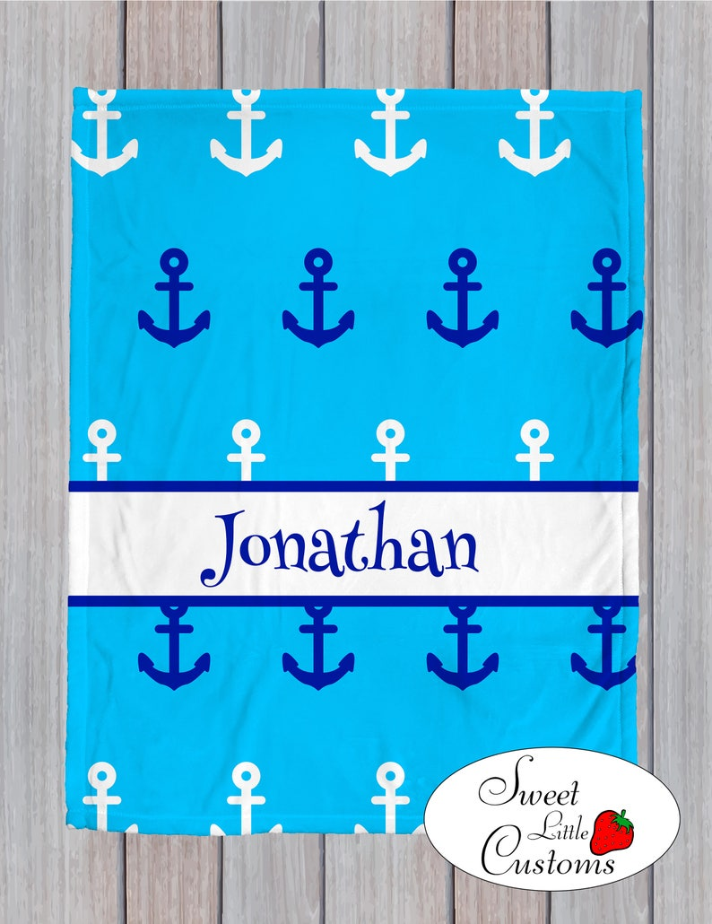 minky style home decor Personalized home or baby blanket with name perfect for boy or girl Nursery ocean toddler modern anchor