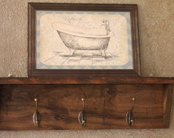 3 Hooks Coat Rack with Shelf