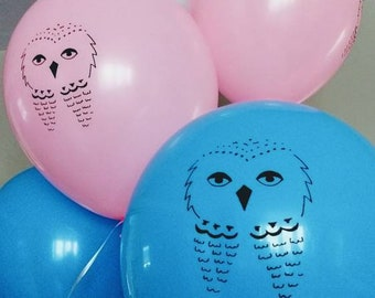Potter themed owl balloons white latex ct hedwig etsy