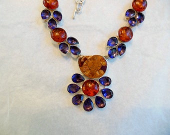 Necklace amber amethyst adjustable colors of nature