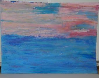 Pink Horizon - Watercolor Painting Wall Art
