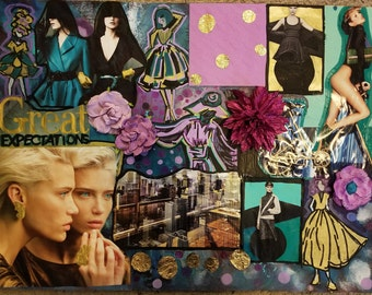 Gold Expectations - Mixed Media Collage Wall Art